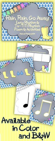 Rain Rain Go Away! Poem with Activities--Early rhythms for beginning students and quarter note / eighth notes practice