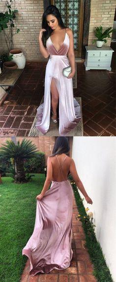 Charming New Sexy Simple Fashion Prom Dresses, Modern Slit Spaghetti Straps prom dress sexy evening dress