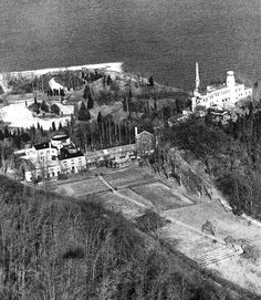 NY, Long Island, Oyster Bay Laurelton Hall - Aerial View of Louis Comfort Tiffany's home.