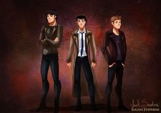 Disney Men Re-Imagined As Pop Culture Heroes Prince Charming, Prince Eric, and Prince Florian as Sam, Castiel, and Dean