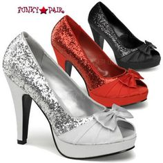 Bettie-10, 4.5 Inch High Heel Open Toe Pump with Bow Detail