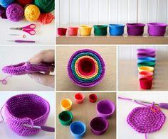 Crochet Rainbow Nesting Baskets Free Pattern