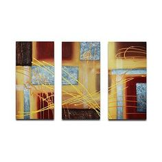 My Art Outlet Hand Painted ''Conducting on Metal'' 3-Piece Canvas Art Set