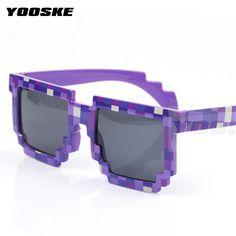 4376cd16ea6 UVLAIK Vintage Children Glasses 8 bit Pixel Women Men Sunglasses Female Male  Retro Mosaic Sun Glasses for kids Boys Girls