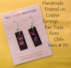 COMPARTE works to benefit Chilean artists who once relied heavily on tourism and local trade for their livelihood. These enamel on copper earrings are one of the numerous handicrafts they create. Find them at #Gallyvant! #FairTrade #Chile #Handmade #Jewelry #Earrings #Copper #COMPARTE Item 70