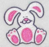 Rabbit Bunny Sitting Embroidery Design.