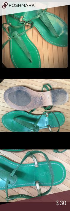 J Crew Thong Sandals Cheery kelly green  thong style leather sandals!  Pre-owned but treated well. Made in Italy. Sz:8 J. Crew Shoes Sandals