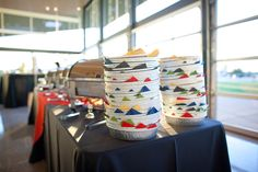 "Fiesta Party Ideas - 9"" Aluminum Takeout Containers, lined with color coordinating napkins - used as plates"