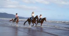 Riding on the beach in Australia.