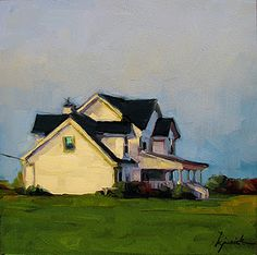 Hopper  like House. Karin Jurick. Oil on masonite. 6 x 6. A painting a day.
