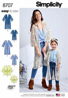2ef735c8f3 Sewing Pattern Mommy and Me Kimono Cardigan Pattern