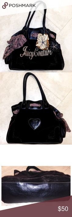 ▪️Juicy Couture Day Dreamer Bag▪️ Juicy Couture Day Dreamer bag in LIKE NEW condition. Dark brown velour with black brown genuine leather trim. Interior could use a light cleaning and there is one small fray on th handle tobut in otherwise GREAT condition! Juicy Couture Bags Shoulder Bags