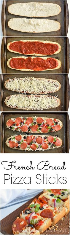 Make your french bread pizza with all of your favorite toppings then cut it into strips and serve it at your next party as an easy recipe for french bread pizza sticks that kids and adults will both love!