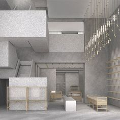 the New York flagship store for fashion house Valentino designed by David Chipperfield Architects will open on Fifth Avenue this summer. Boutique Design, Commercial Design, Commercial Interiors, Terrazzo, Valentino Store, Design Comercial, Store Concept, David Chipperfield Architects, Interior Architecture