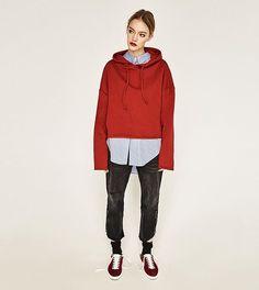 This is #zaranewin   Short oversized #sweatshirt Ref 7568/820 #shirt Ref 3564/162  boyfriend #jeans Ref 6840/275 #shoes Ref 1740/201