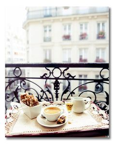 Total joy, from every angle...balcony, Europe, flower window boxes, coffee in coffee cups, treats, calm, height, sweets, people watching, fresh air and lace. Total relaxation