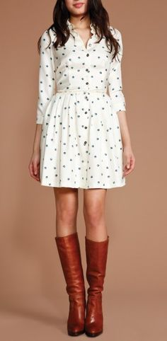 brown riding boots + white printed dress