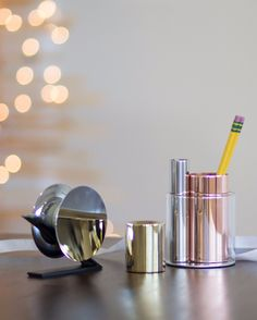 #25PerfectGifts: Minimal and metallic, this shiny stationery set by Beyond Object makes taping, sharpening, opening and storing that much more beautiful. But it's not just about the looks—each piece is designed with functionality in mind, from the weighty tape dispenser that can be used with one hand to the letter opener that slices through the day's mail with ease.