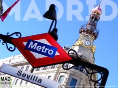 Metro stop Sevilla on the Calle de Alcalá in #Madrid with the old Banco Español de Crédito building in the background. Completed in 1891, The building is a representative sample of nineteenth century architecture. Architect José Grases Riera. Completed in 1891. Neo-baroque influence. Photo by Robert Doris. © 2014 Madrid Connection. All rights reserved. #MadridConnection #Madrid #VisitMadrid