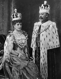 King Edward VII and Queen Alexandra in their coronation regalia.