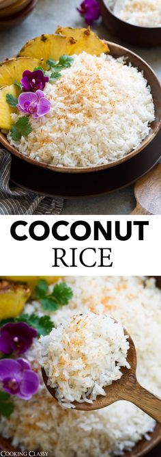 Coconut Rice - soon to be one of your go-to side dishes! It pairs perfectly with a tropical meal, a Thai main dish, or seafood. It's super easy to make, it has a delicious and rich, natural coconut fl Thai Side Dishes, Rice Side Dishes, Main Dishes, Hawaiian Side Dishes, Side Dish Recipes, Asian Recipes, Thai Coconut Rice, Cocunut Rice, Thai Rice