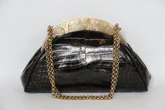 Glazed crocodile evening bag with vintage gold heart frame.