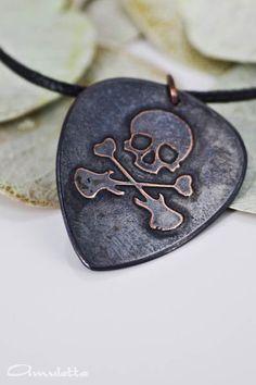 Skull  Custom guitar pick necklace  large  Classy by AmulettaHu