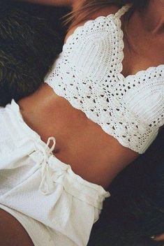 Sexy Crochet Underwear Bralette Brassiere Bra 9871374 from Eternal Apparel Motif Bikini Crochet, Crochet Bra, Crochet Crop Top, White Crochet Top, Simple Crochet, Crochet Shorts, Crochet Tops, Free Crochet, Bikinis Tumblr