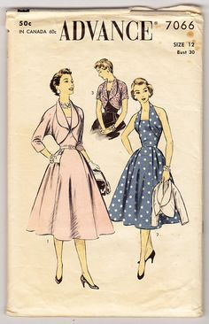 1950s Advance 7066 Misses Halter Dress And Bolero - Size 12 Bust 30 - Vintage Sewing Pattern