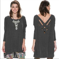 Sexy back long sleeve top! Soft crisscross back loose top. #NWT #stretches Material: cotton Tops Tees - Long Sleeve