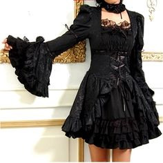 Black Tea Length Long Sleeve Punk Gothic Masquerade Wedding Dresses -- not my style for a wedding dress, but everyday: yes! Gothic Lolita Fashion, Gothic Outfits, Gothic Dress, Lolita Style, Gothic Chic, Punk Dress, Lolita Dress, Masquerade Wedding Dresses, Black Wedding Dresses