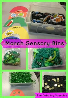 March sensory bins for speech therapy. Great for language therapy too. Sensory Bins, Sensory Activities, Classroom Activities, Sensory Play, Toddler Activities, Multi Sensory, Sensory Rooms, Counseling Activities, Autism Activities