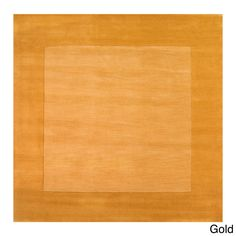 Hand Loomed Solid Bordered Tone-On-Tone Wool Area Rug-(9'9 Square) (Gold-(9'9 Square)), Gold, Size 9'9 x 9'9
