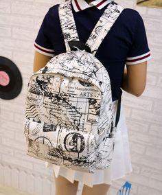 Fashion Canvas Graffiti Map Casual Backpack  Schoolbag Lace Backpack a2845ba22134e