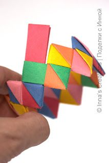 Make a bracelet from folded paper strips