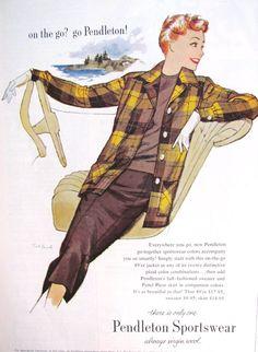 Advertising- Sewing a Vintage Style Wardrobe: the Plaid Jacket- Vintage Pendleton/ Fashion - Moyiki Sites Vintage Fall, Vintage Ladies, Vintage Style, 1940s Style, Vintage Patterns, Vintage Prints, 1940s Fashion, Vintage Fashion, Vintage Vogue