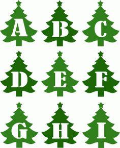 Silhouette Design Store - View Design christmas tree alphabet j-r Boxed Christmas Cards, Christmas Svg, Christmas Images, Vintage Christmas, Christmas Letters, Christmas Movies, Christmas Templates, Christmas Printables, Christmas Activities