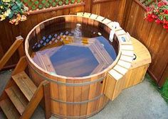 barrel wood hot tub for the patio