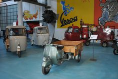 PIAGGIO MUSEUM tells the #history of #products that represent excellence in #creativity and technological competence, while exalting the entrepreneurial capabilities of the people who designed and produced them. #Piaggio #Ape Cassone (1948), Ape Calessino and Ape 150 C3 in Piaggio #Museum Pontedera #Tuscany #Italy #vintage #history commercial vehicles Discover ore! http://www.museopiaggio.it/en/index_en.html