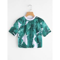 SheIn(sheinside) Leaf Print Crop Tee ($10) ❤ liked on Polyvore featuring tops, t-shirts, green, green top, round neck t shirts, sleeve t shirt, stretch t shirt and green tee