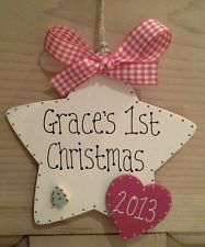 """Personalised Wooden  Star """"Baby's 1st Christmas"""" Plaque/Sign/Tree Decoration"""