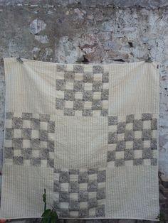 Khadi hand woven cotton quilt, hand block print, hand stitch. Ethical production