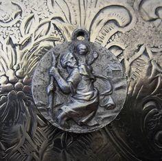 Rome ROMA Souvenir Patron Saint Christopher Religious Medal Protector Of Travelers Vintage Jewelry Pendant Charm Catholic Holy Medallion Old