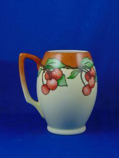 "Bavaria Arts & Crafts Cherry Motif Tankard/Mug (Signed ""L. Phipps""/c.1910-1930)"