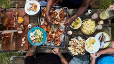 A killer summer menu from Bryan Furman, Georgia's new king of barbecue. Lemon-pepper chicken, pork tenderloin, potato salad with bacon and eggs, peach crisp, and more recipes.