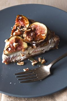 Summer Fig Tart with Kefir Honey and Pecan Date Crust