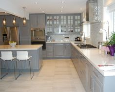 Image result for bodbyn grey kitchen glass upper cabinets