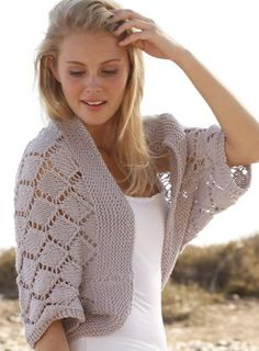 Free knitting pattern for Cassie Bolero shrug with diamond lace pattern