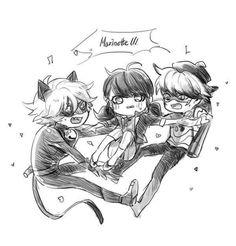 Miraculous Ladybug- Chat, Ladybug, Nathaniel