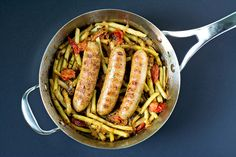 Chicken Sausages with Wax Beans and Tomatoes via @Courtney | Cook Like a Champion